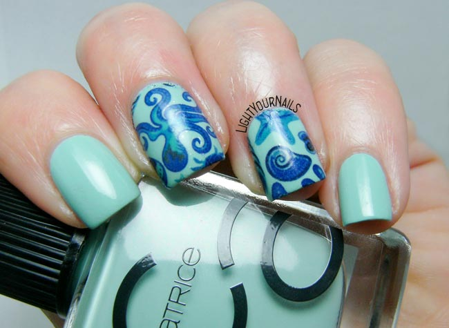 Nautical nail art feat. Catrice Mint Map and Bornpretty BYP34 water decals