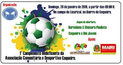 Campeonato do Coqueiro começa neste domingo, em Mairi-BA