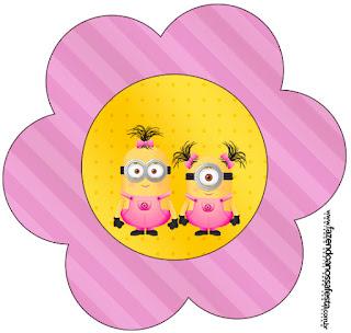 Tarjeta con forma de flor de Minions Chicas.
