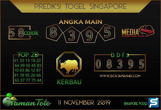 Prediksi Togel SINGAPORE TAMAN TOTO 11 NOVEMBER 2019