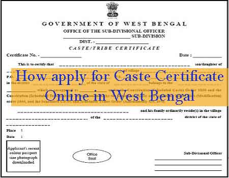 How apply for Caste Certificate Online in West Bengal with SC/ST/OBC on