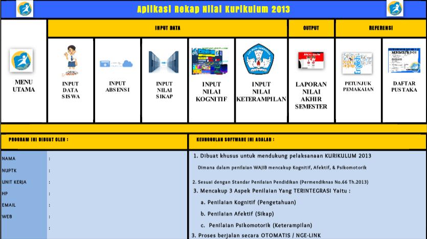 Download Aplikasi Rekap Nilai Kurikulum 2013 Sd Smp Sma