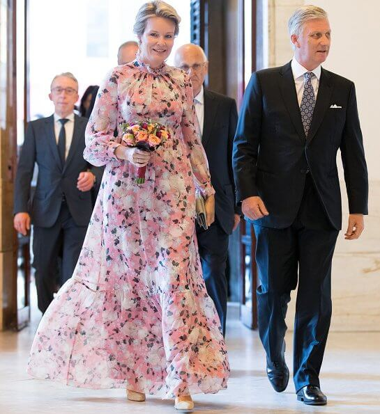 Erdem Clementine Gown Apsley Pink. Queen Mathilde wore a new floral print silk gown by Erdem. Princess Astrid
