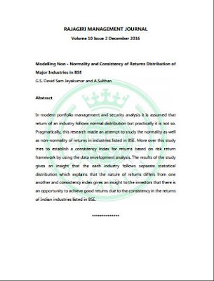 Published Paper at Rajagiri Management Journal | Modelling Non - Normality and Consistency of Returns Distribution of Major Industries in BSE