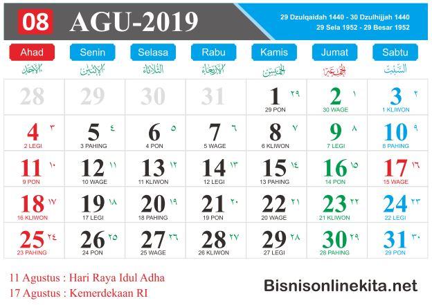 kalender 2019 agustus