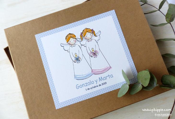 caja libro de bautizo gemelos