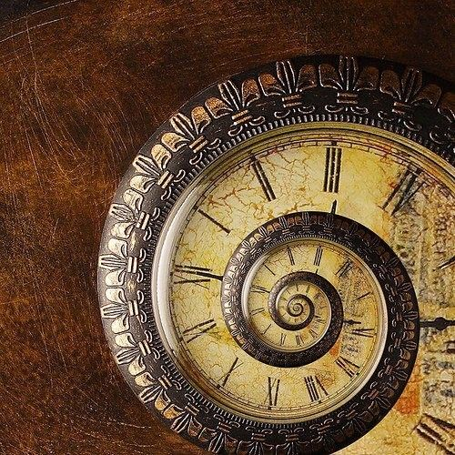 A spiral clock represents the god of infinitely expanding time, Kairos or Caerus