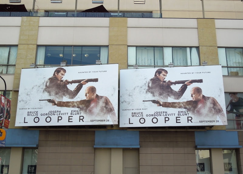 Looper movie billboards Hollywood