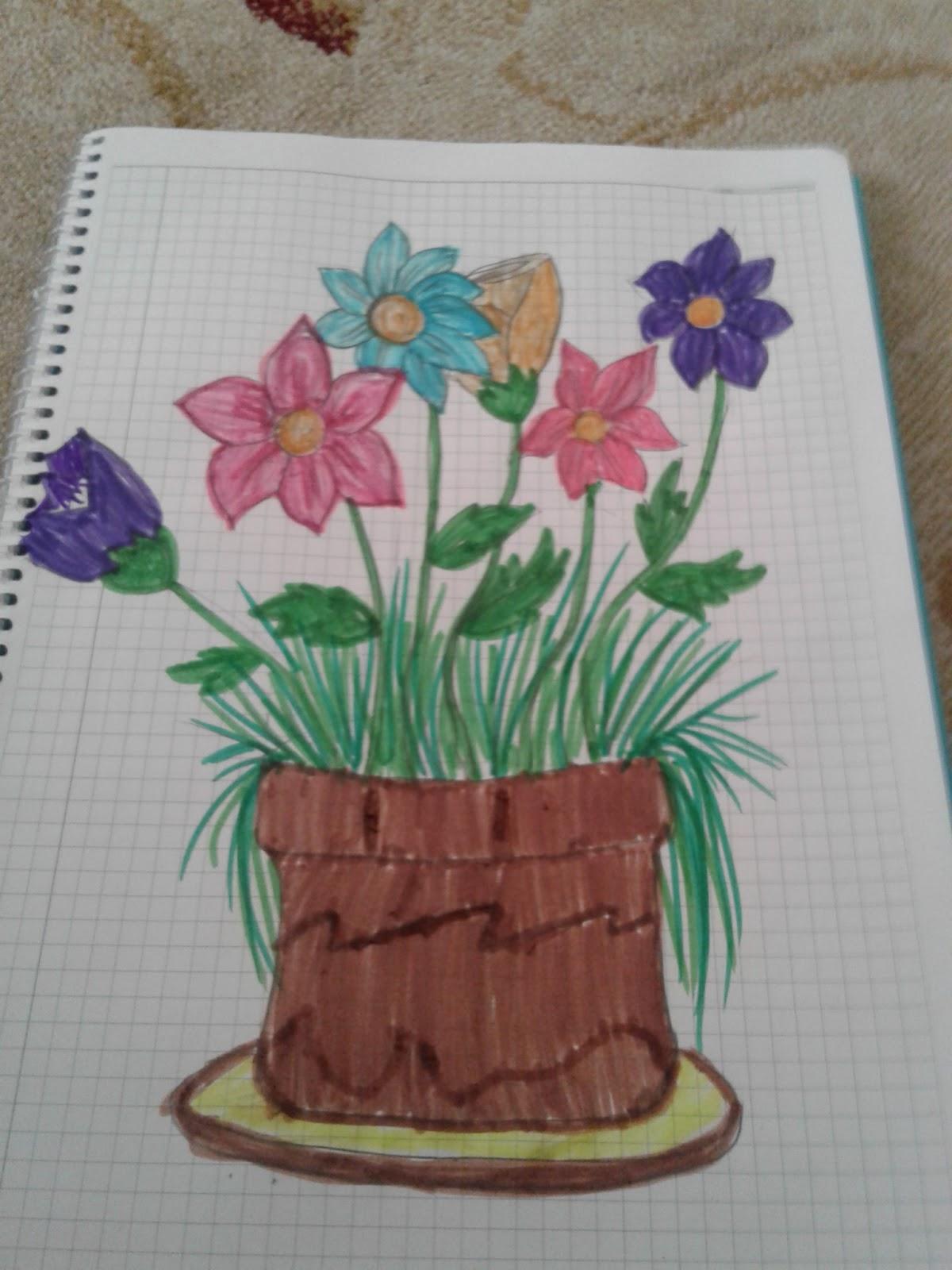 Saksıda çiçek çizimi
