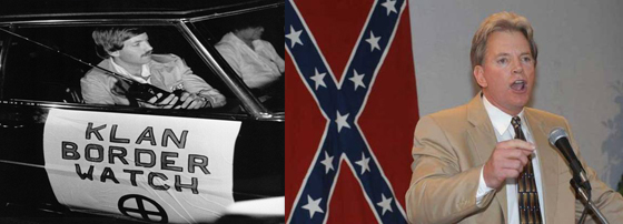 """David Duke (left) leading a so-called Ku Klux Klan """"border watch."""" Notice that white supremacists have a """"thing"""" for the Confederate flag (right)."""