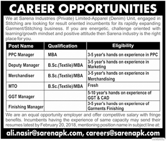 Jobs in Sarena Industries Pvt Limited Feb 2018