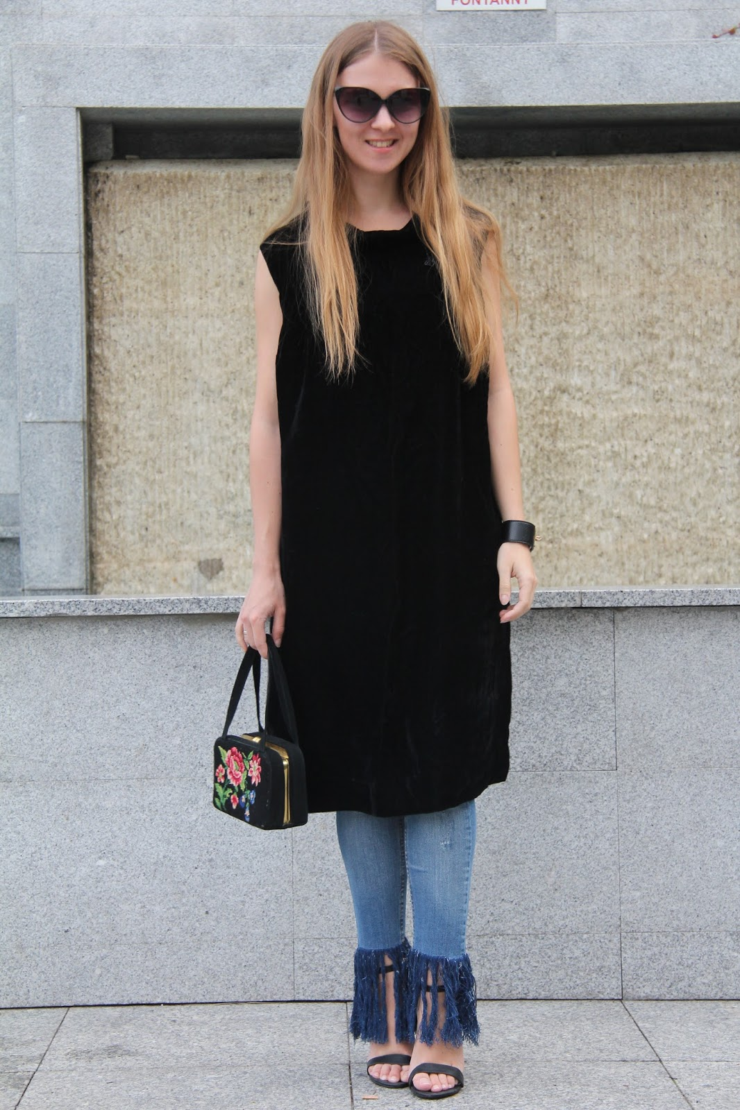 how to style black dress over jeans