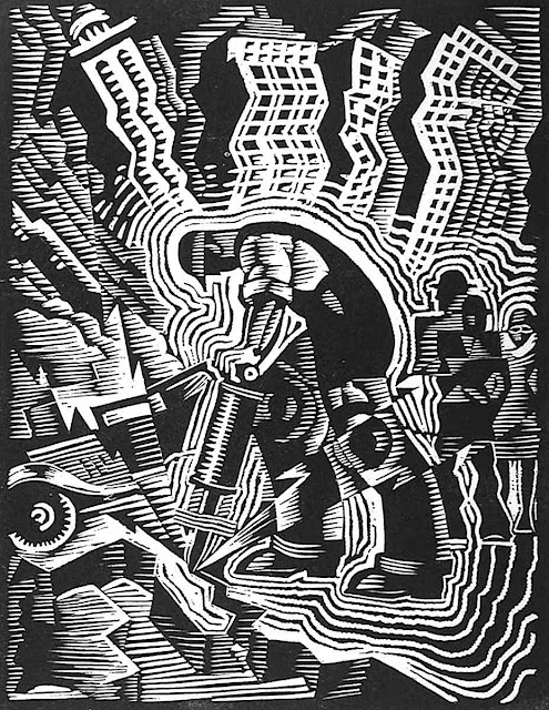 Charles Turzak woodcut of man with jackhammer