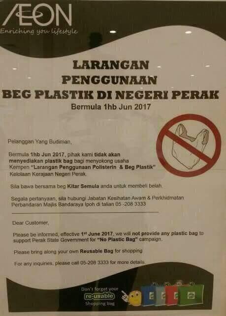 Larangan Penggunaan Beg Plastik Di Negeri Perak