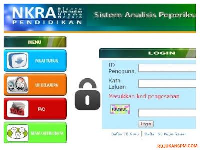 Login SAPS Sistem Analisis Peperiksaan Sekolah