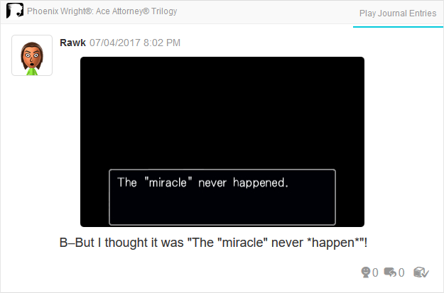 Phoenix Wright Ace Attorney Justice For All 3DS Trilogy miracle never happened happen typo fixed