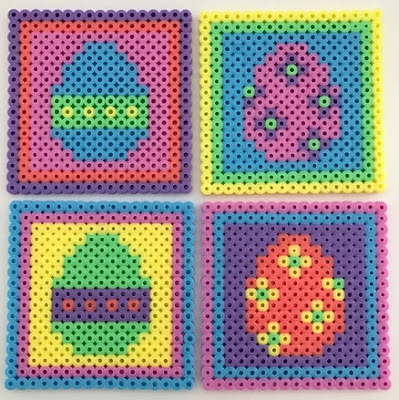 Hama bead Easter coasters for children craft