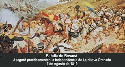 Dibujo de hombre luchando en la Batalla de Boyacá