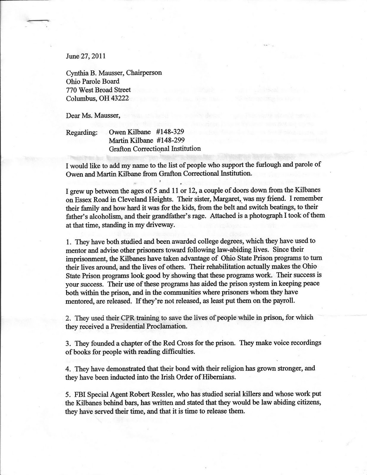 Pg 1 of letter to Parole board from childhood friend Anne Stuart