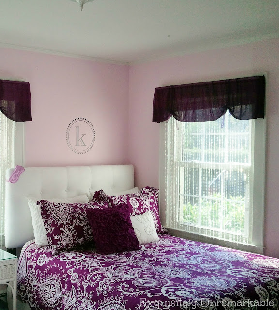 Pottery Barn Purple Bedding in girls' room