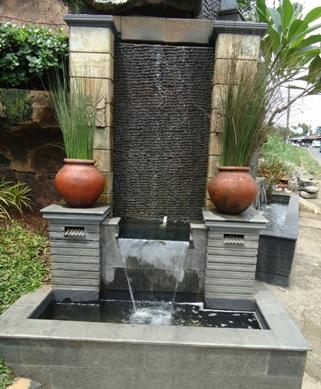 desain taman hias dengan kolam pancuran ~ design rumah