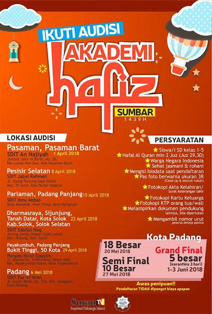 Berikut Siklus Akademi Hafiz Sumbar di kota Padang: