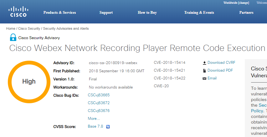 Cisco Patched Multiple Critical RCE Flaws in Webex Network Recording
