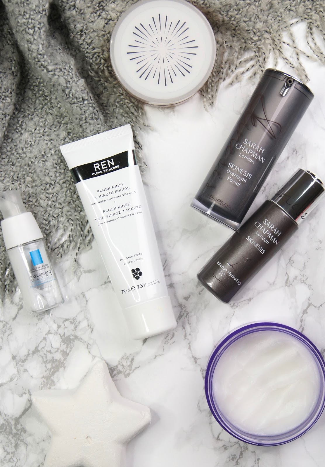 cosy night in routine pamper session skincare ren flash rinse 1 minute facial sarah chapman intense hydrating booster serum overnight facial la roche-posay toleriane ultra eye contour review