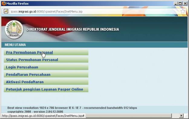 Petunjuk membuat Paspor online