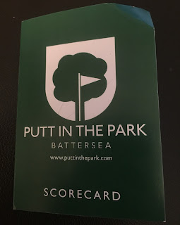 Scorecard from the Putt in the Park Mini Golf course at Battersea Park in London