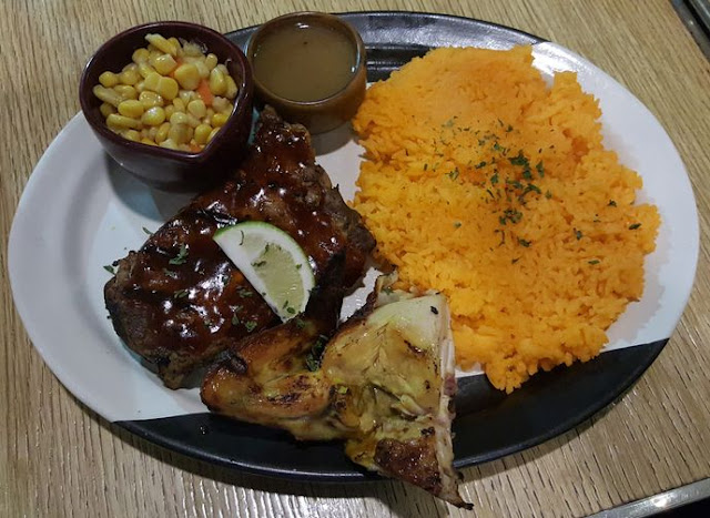 Chicken & Rib Plate with Java rice, corn, and sauce by Peri-Peri Charcoal Chicken