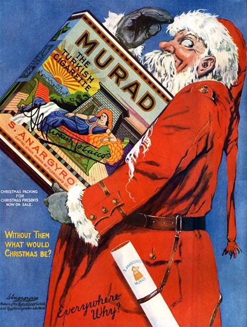 Propaganda dos anos 40 dos Cigarros Murad que fez uso do Papai Noel.