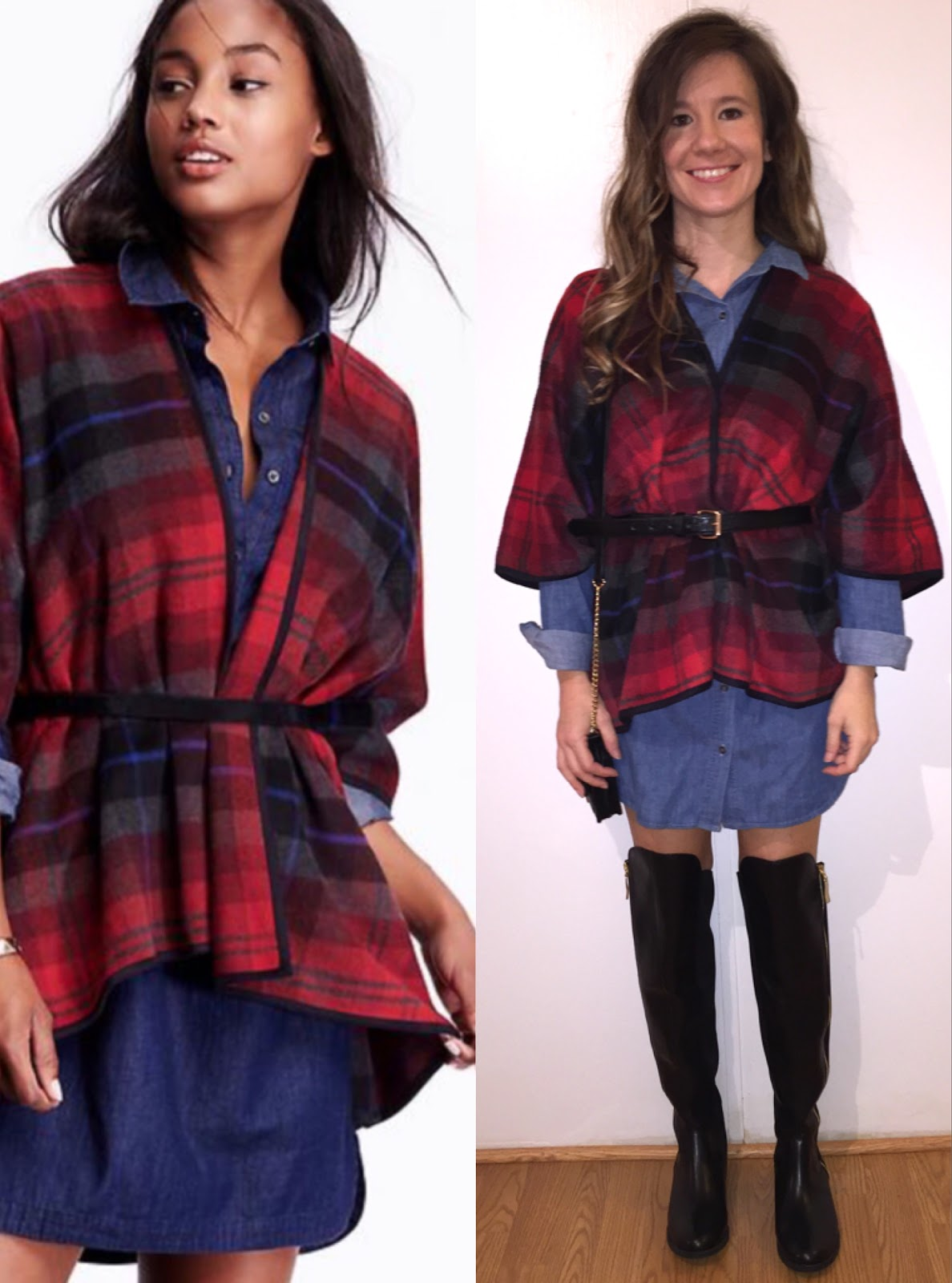 Old Navy Plaid Poncho Forever 21 Shirt Dress Christian Siriano Boots Michael Kors Black Bag
