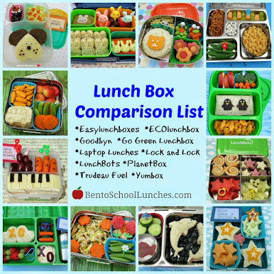 Lunch box comparison list, Bento school lunches
