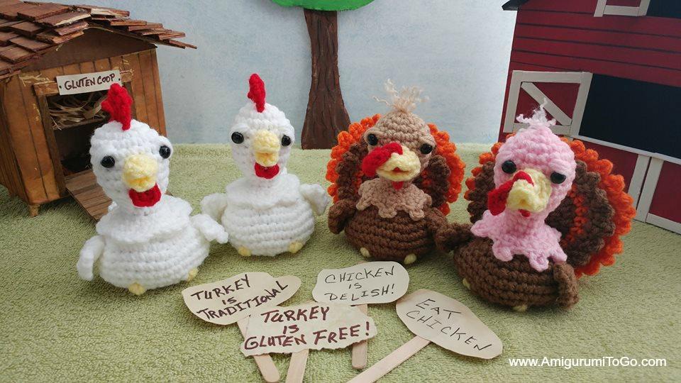 crochet chicken and turkey