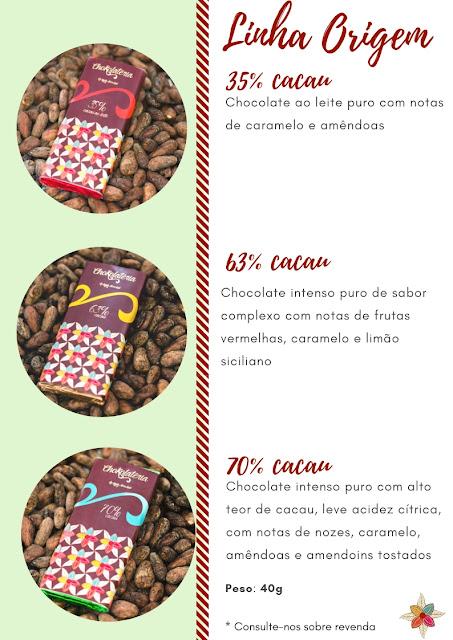 Tabela de Barrinhas Linha Origem - Chokolateria Karla Alves Leal