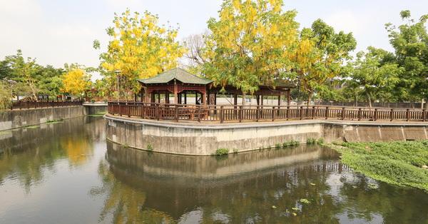 《台中.南屯》公93公園|江南風情的公園|阿勃勒盛開|滯洪池像座牧場