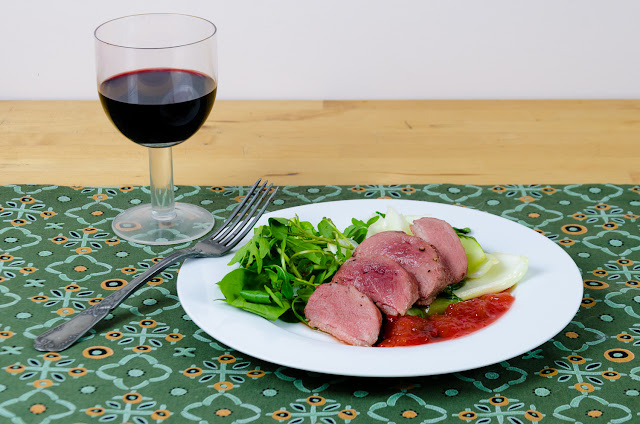 Glynn Purnell's duck with spiced plum jam and watercress