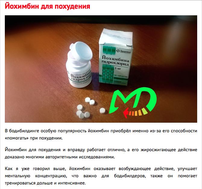 Йохимбина гидрохлорид отзывы похудение