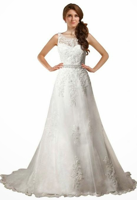 George Bride Elegant Off Shoulder Beaded A-Line Wedding Dress