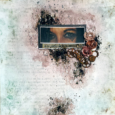 Steampunk theme mixed media scrapbook layout for the Words and Paintery challenge September 2016