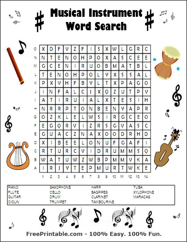 Shocking image for music word searches printable