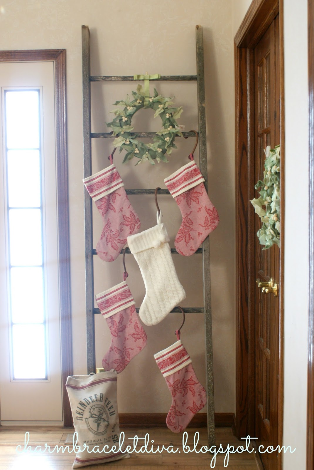 our hopeful home how to hang your christmas stocking without a mantel. Black Bedroom Furniture Sets. Home Design Ideas