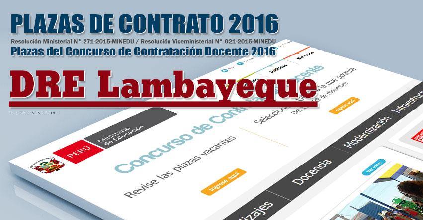 DRE Lambayeque: Plazas Vacantes Contrato Docente 2016 (.PDF) www.educacion.regionlambayeque.gob.pe