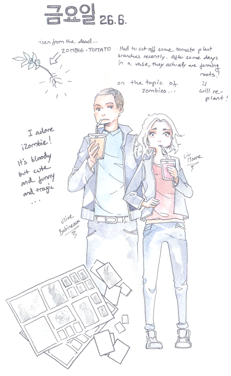 watercolor sketch diary drawing fanart iZombie