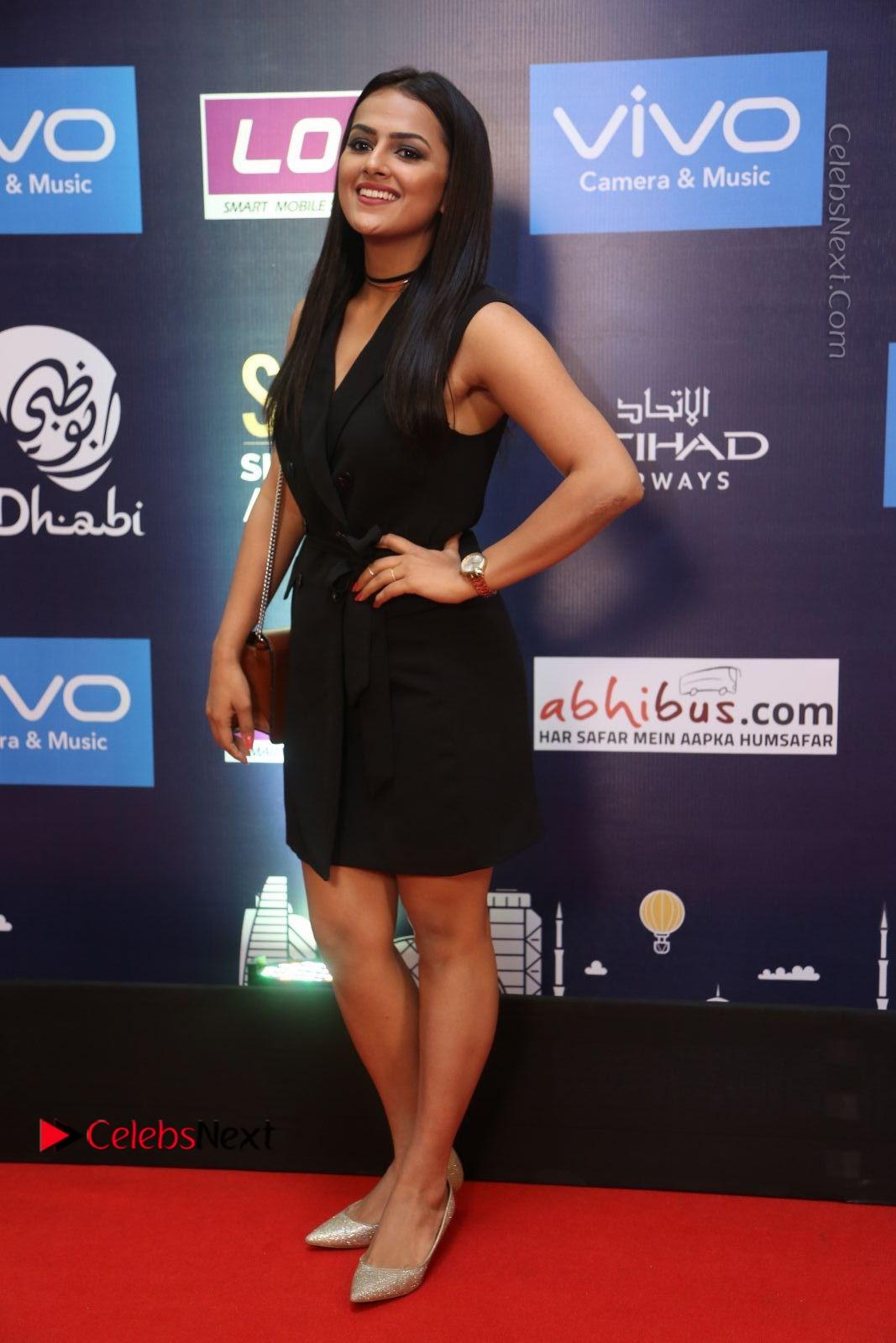 Shraddha Srinath Stills in Black Short Dress at SIIMA Short Film Awards 2017