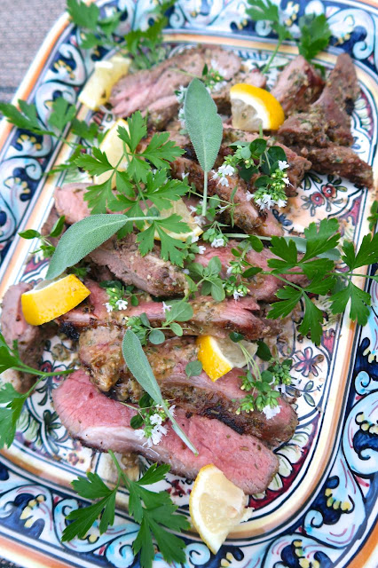 Grilled Butterflied Leg of Lamb with Herb Marinade