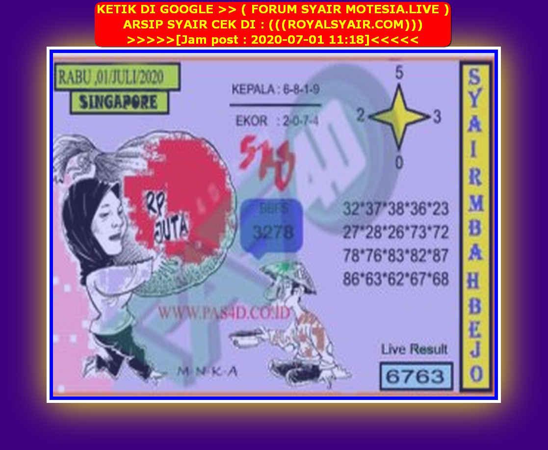 Kode syair Singapore Rabu 1 Juli 2020 98