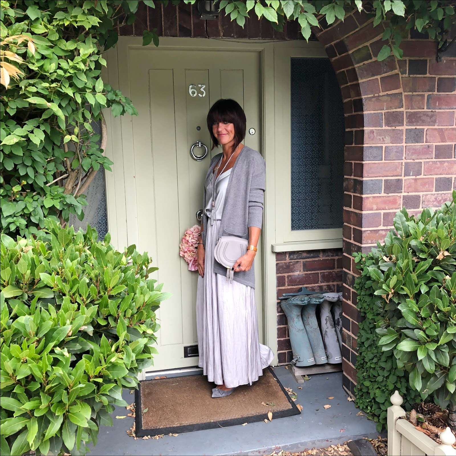 my midlife fashion, marks and spencer pure cashmere split back cardigan, chloe marcie cross  body bag, j crew suede tassel flats, massimo dutti camisole, massimo dutti gathered side split maxi skirt