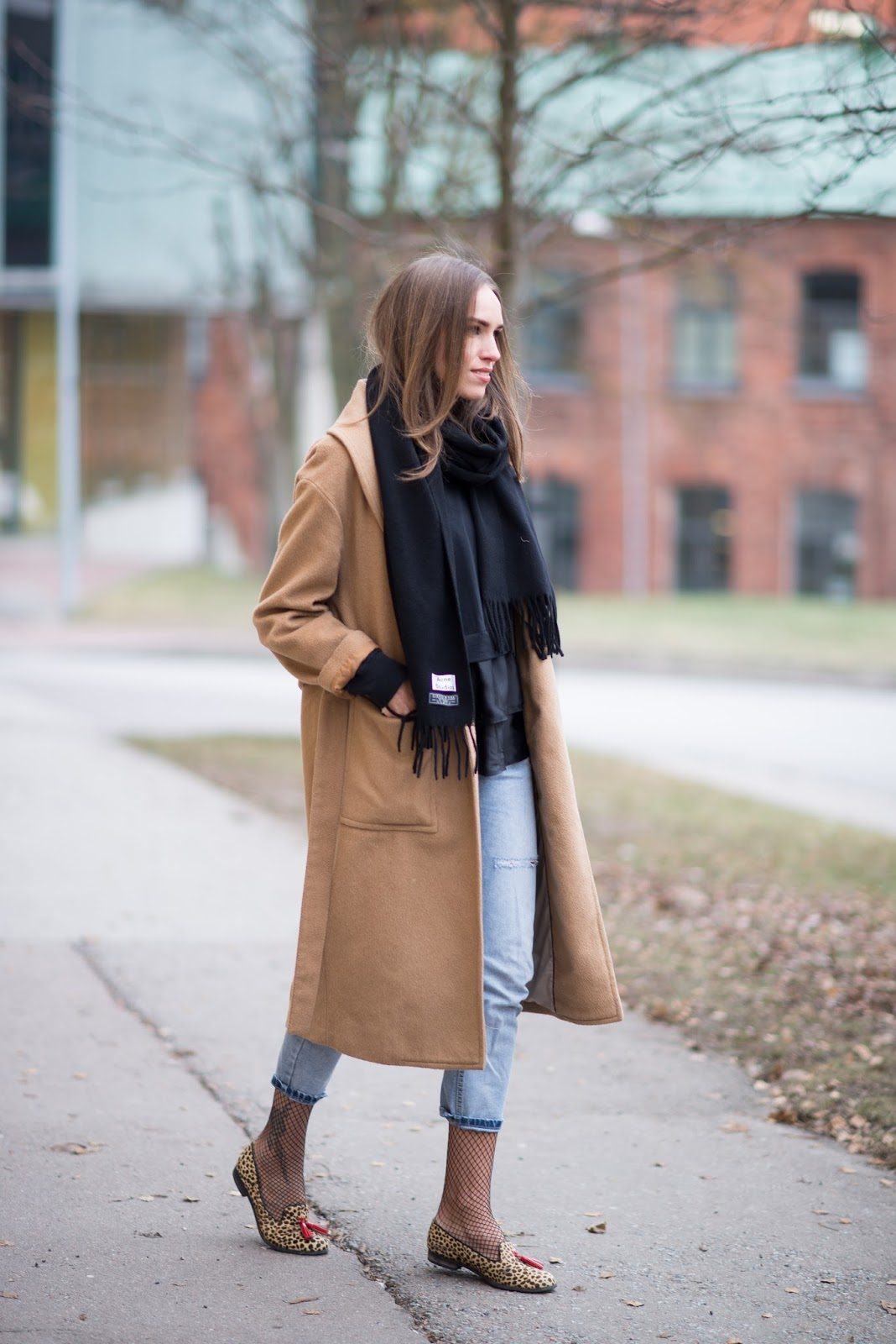 black acne scarf camel coat outfit